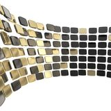 Abstract background made of glossy plates on white. Abstract copyspace backdrop made of glossy black and golden plates arranged in circle over white background Stock Photography