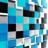 Abstract background made of glossy square plates. Abstract background backdrop made of glossy black, blue and chrome metal square plates Royalty Free Stock Images