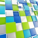 Abstract background made of glossy square plates. Abstract background backdrop made of glossy green, blue and chrome metal square plates Stock Photos
