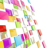 Abstract background made of glossy square plates. Abstract background perspective copyspace backdrop made of colorful glossy and metal square plates over white Stock Image