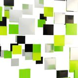 Abstract background made of glossy square plates. Abstract backdrop made of glossy green, black and chrome metal square plates over white background Royalty Free Stock Image