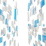 Abstract background made of glossy square plates. Abstract background perspective copyspace backdrop made of glossy blue and silver square plates over white stock illustration