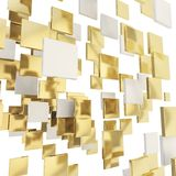 Abstract background made of glossy square plates. Abstract backdrop made of glossy chrome metal and golden square plates over white background Stock Photos
