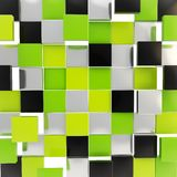 Abstract background made of glossy square plates. Abstract background backdrop made of glossy green, black and chrome metal square plates Royalty Free Stock Photos