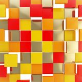 Abstract background made of glossy square plates. Abstract background backdrop made of glossy orange, red, yellow and golden square plates Stock Photo