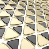 Abstract background made of glossy triangles. Abstract geometrical background made of glossy golden and black triangles on white Stock Image