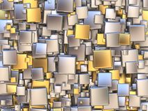 Abstract background made of golden and silver tiles. 3D Stock Photo