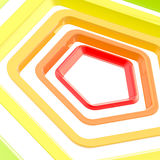 Abstract background made of pentagons. Abstract background made of orange and red shiny pentagons Royalty Free Stock Images