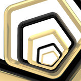 Abstract background made of pentagons. Abstract background made of golden and black pentagons Royalty Free Stock Images