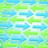 Abstract background made of pointers and arrows. Abstract background made of blue and green chaotic bright glossy pointers and arrows Stock Photos