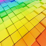 Abstract background made of rainbow colored cubes. Abstract background made of colorful glossy rainbow colored cubes Royalty Free Stock Photos