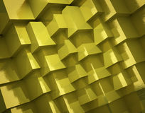 Abstract background made of scabrous golden cubes. 3d rendered image Royalty Free Stock Photo
