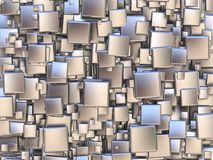Abstract background made of silver tiles. 3D Royalty Free Stock Image