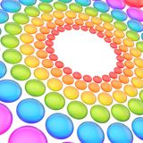 Abstract background made of spheres. Abstract background made of streched colorful rainbow colored spheres arranged in circles stock illustration