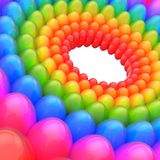 Abstract background made of spheres. Abstract background made of streched colorful rainbow colored spheres arranged in circles Stock Images