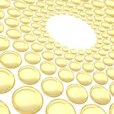 Abstract background made of spheres. Abstract background made of streched golden spheres arranged in circles Royalty Free Stock Image