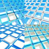 Abstract background made of square plates. Square plates abstract dimensional background composition, set of four Royalty Free Stock Photo