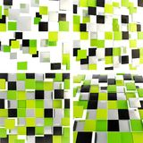 Abstract background made of square plates. Abstract background made of green, chrome and black glossy square plates, set of four Royalty Free Stock Images