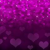 Abstract background of magenta hearts Stock Photography