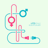 Abstract background with male and female symbols. And entangled wires problems. Difficulties in the relationship between the sexes. Concept connection Royalty Free Illustration