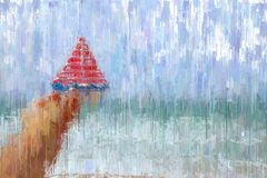 abstract background of man hand holding a boat in front of sea landscape. oil painting style photo. Royalty Free Stock Image