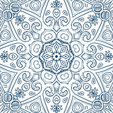 Abstract Background Mandala 2. Hand-drawn mandala for coloring, square background, lace ornament pattern, monochrome contour mandala, EPS 8 stock illustration