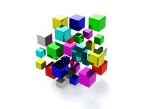 Abstract background with many colored cubes. 3d render Royalty Free Stock Photo