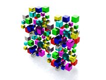 Abstract background with many colored cubes. 3d render Stock Illustration