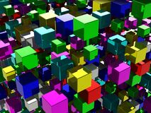 Abstract background with many colored cubes Stock Photography