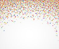 Abstract background with many falling colorful tiny confetti pieces. Vector background Royalty Free Stock Photos