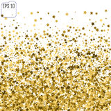 Abstract background with many falling gold stars confetti. vecto. R background Stock Photos