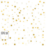 Abstract background with many falling gold stars confetti. vecto. R background Stock Image