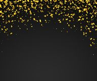 Abstract background with many falling golden tiny confetti pieces. Vector background Royalty Free Stock Image