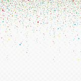 Falling confetti pieces. Abstract background with many falling stars and tiny confetti pieces different colors. Festive Illustration of colored particles  on Stock Images