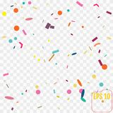 Abstract background with many falling tiny confetti pieces.. Vector illustration on a transparent background.  Memphis concept. Colored confetti Stock Photos