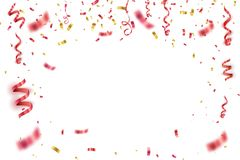 Red confetti isolated. Festive vector background Stock Photo