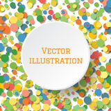 Abstract background with many falling tiny confetti pieces. White circle banner in center for your text. Abstract background with many falling tiny confetti Royalty Free Stock Photography