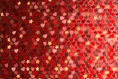 Abstract background with many hearts and stars. Backdrop for valentines or romantic events. Many randomly arranged hearts. 3d illustration stock illustration