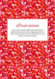 Abstract background with many little red hearts and text template, a4 size vertical illustration Stock Images