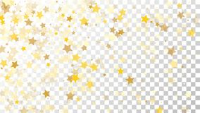 Abstract Background with Many Random Falling Golden Stars. Confetti on Transparent Background. Invitation Background. Banner, Greeting Card, Christmas and New Royalty Free Stock Images