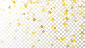 Abstract Background with Many Random Falling Golden Stars. Confetti on Transparent Background. Invitation Background. Banner, Greeting Card, Christmas and New Stock Photo
