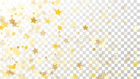Abstract Background with Many Random Falling Golden Stars. Confetti on Transparent Background. Invitation Background. Banner, Greeting Card, Christmas and New Stock Photos