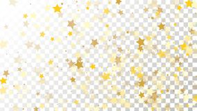 Abstract Background with Many Random Falling Golden Stars. Confetti on Transparent Background. Invitation Background. Banner, Greeting Card, Christmas and New Royalty Free Stock Photo