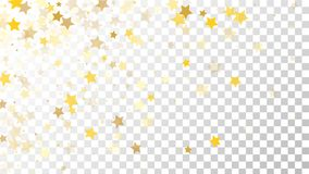 Abstract Background with Many Random Falling Golden Stars Confetti on Transparent Background. Invitation Background. Banner, Greeting Card, Christmas and New Stock Images