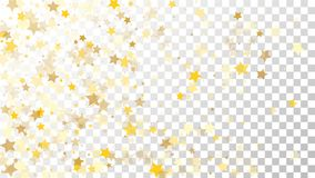 Abstract Background with Many Random Falling Golden Stars Confetti on Transparent Background. Invitation Background. Banner, Greeting Card, Christmas and New Stock Image