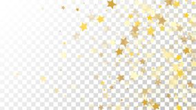 Abstract Background with Many Random Falling Golden Stars Confetti on Transparent Background. Invitation Background. Banner, Greeting Card, Christmas and New Stock Photography