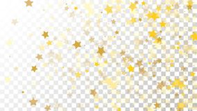 Abstract Background with Many Random Falling Golden Stars Confetti on Transparent Background. Invitation Background. Banner, Greeting Card, Christmas and New Royalty Free Stock Photo