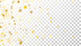 Abstract Background with Many Random Falling Golden Stars Confetti on Transparent Background. Invitation Background. Banner, Greeting Card, Christmas and New Royalty Free Stock Images