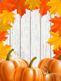 Abstract background with maple leaves and pumpkins. Abstract background with maple leaves, pumpkins, and blue wooden wall, vector illustration, eps 10 with Royalty Free Stock Photos