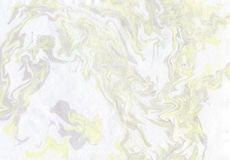 Abstract background marble texture. Abstract background in gray and yellow tones. Imitation velvet surface. Ink texture, watercolor hand drawn marbling Stock Photos